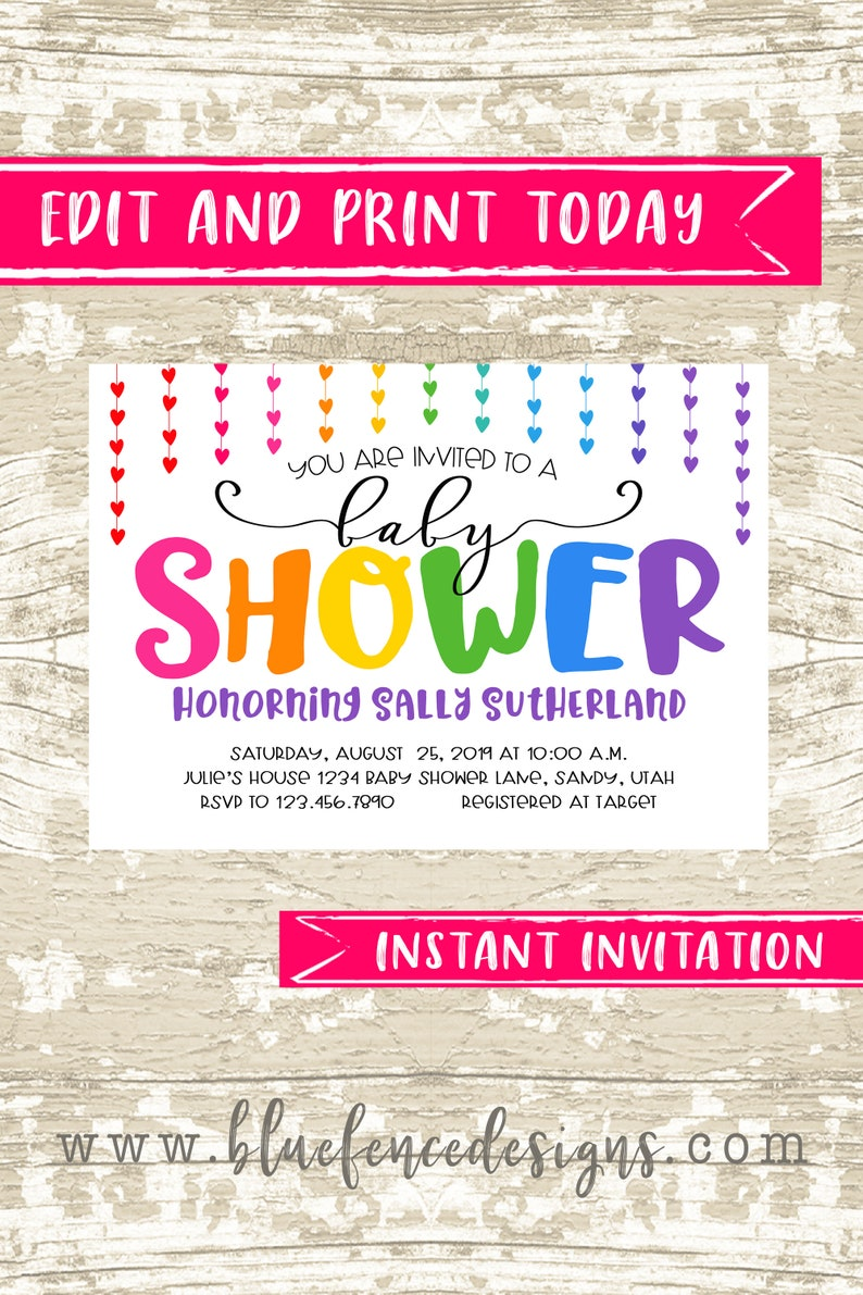 Baby Girl Shower Invitation Instant Download Template with image 0