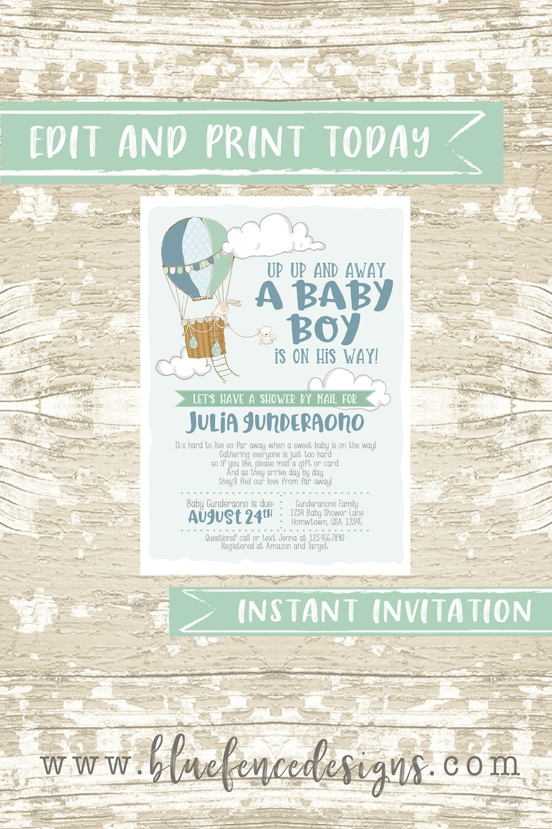 INSTANT Hot Air Balloon Long Distance Baby Shower Boy Shower image 0