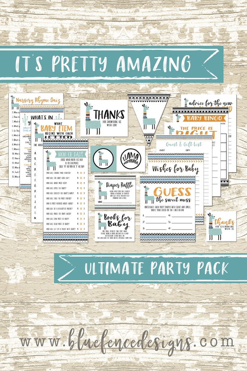 Ultimate Llama Momma Printable Party Package image 0