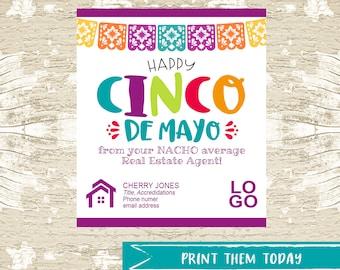 Cinco De Mayo Pop by Referral Tags, Real Estate Pop By Printable Tag, March Realtor Marketing