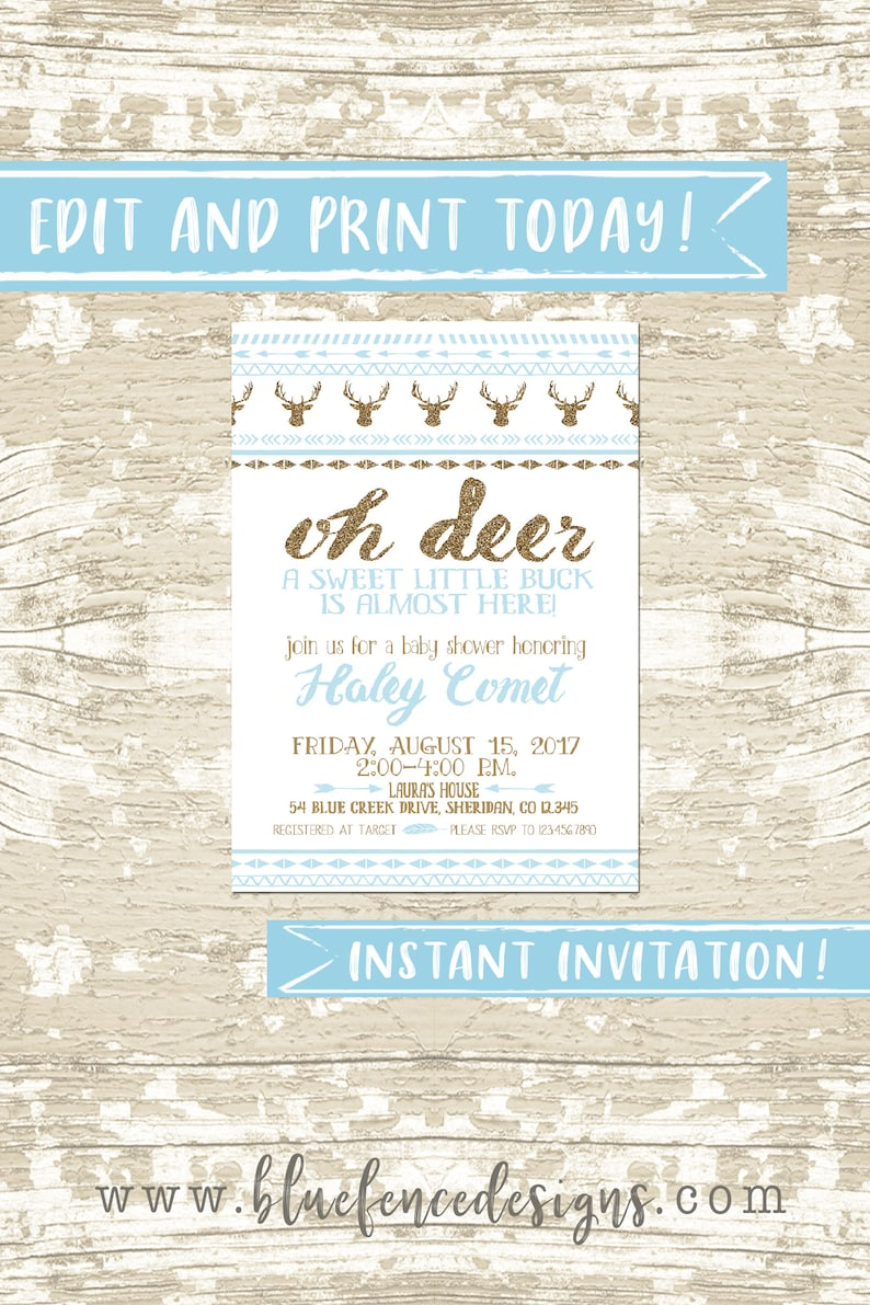 Oh Deer Baby Shower Invitation Instant Download in Gold and image 0