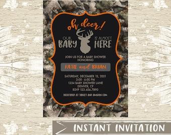 Oh Deer Antler Long Distance Digital Boy Baby Shower Invitation