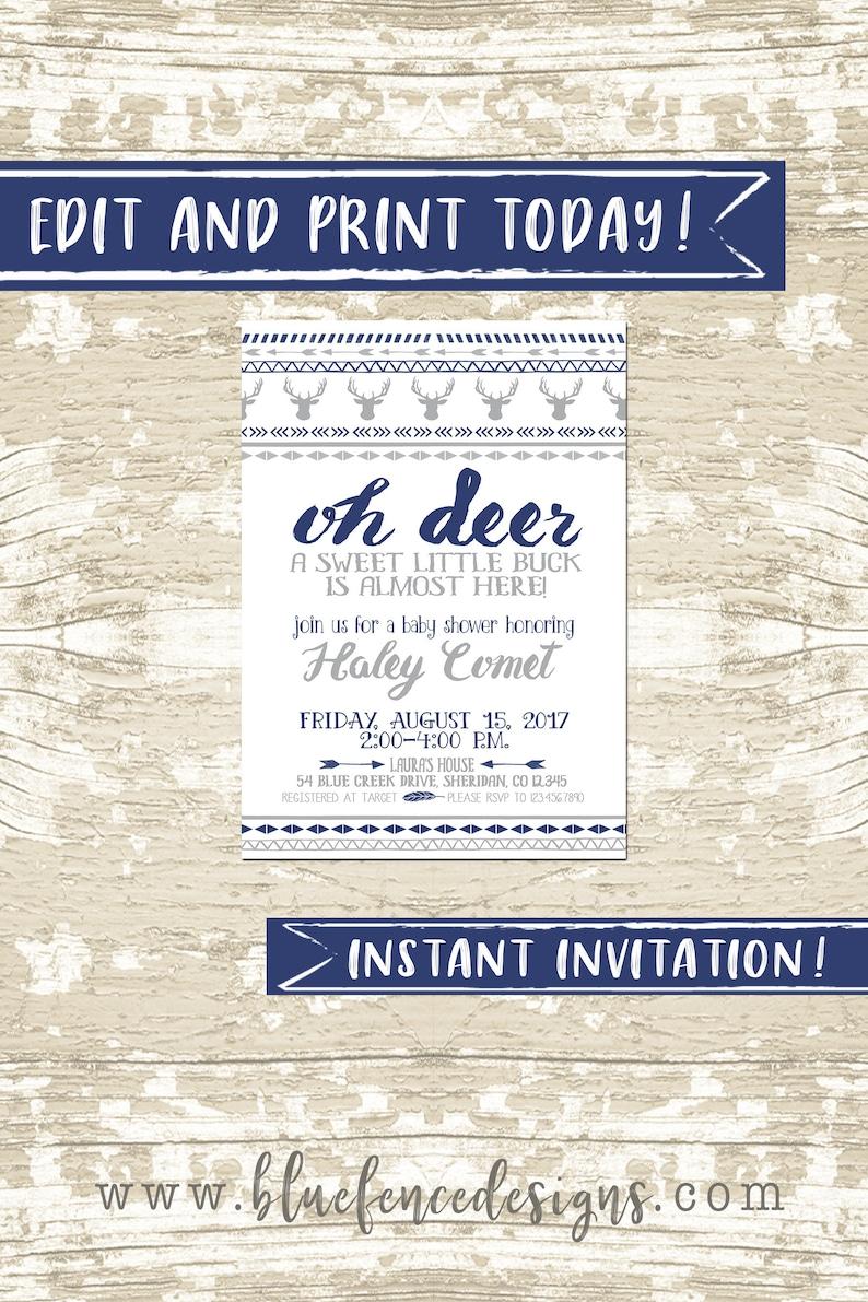 Oh Deer Baby Shower Invitation Instant Download image 0