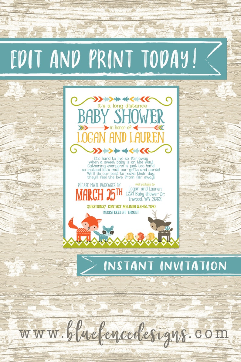 Editable Long Distance Baby Shower Invitation Baby Shower by image 0