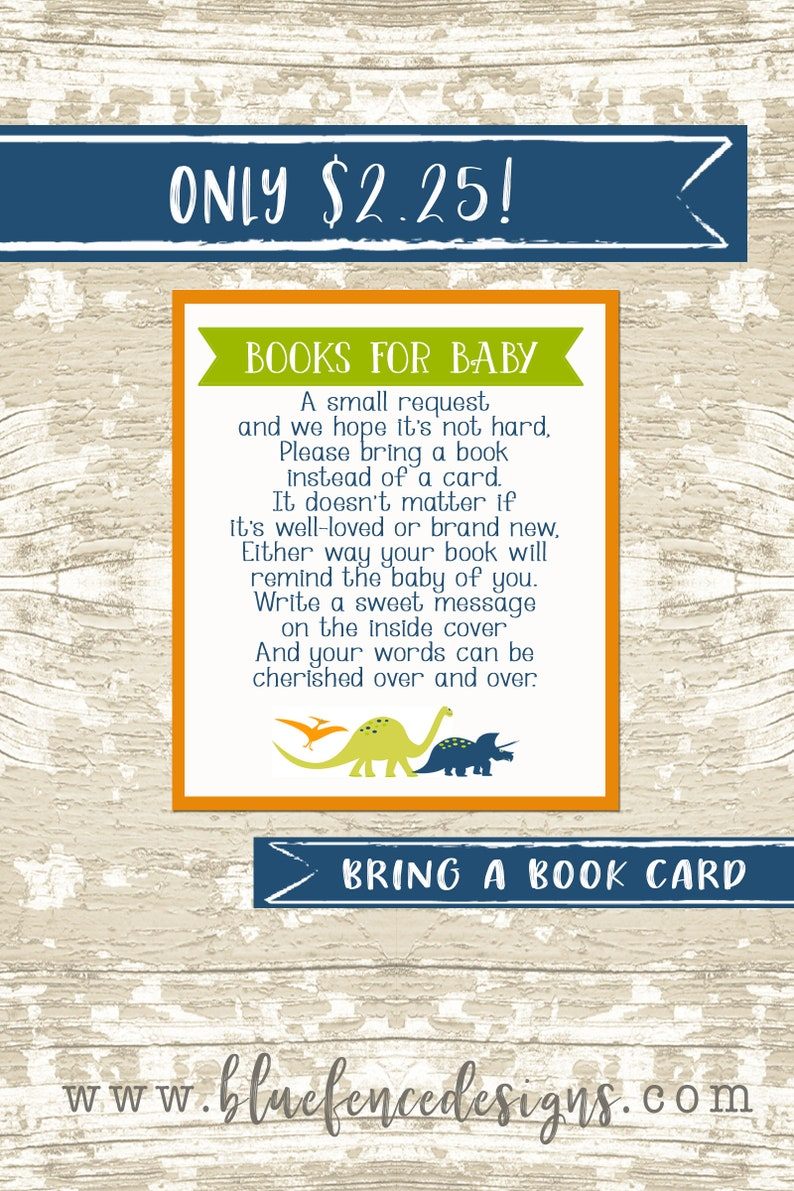 Dinosaur themed bring a book card insert  baby shower image 0