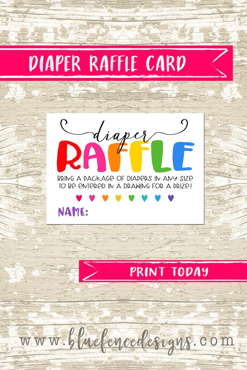 INSTANT DOWNLOAD Rainbow Baby Diaper Raffle Ticket Rainbow image 0