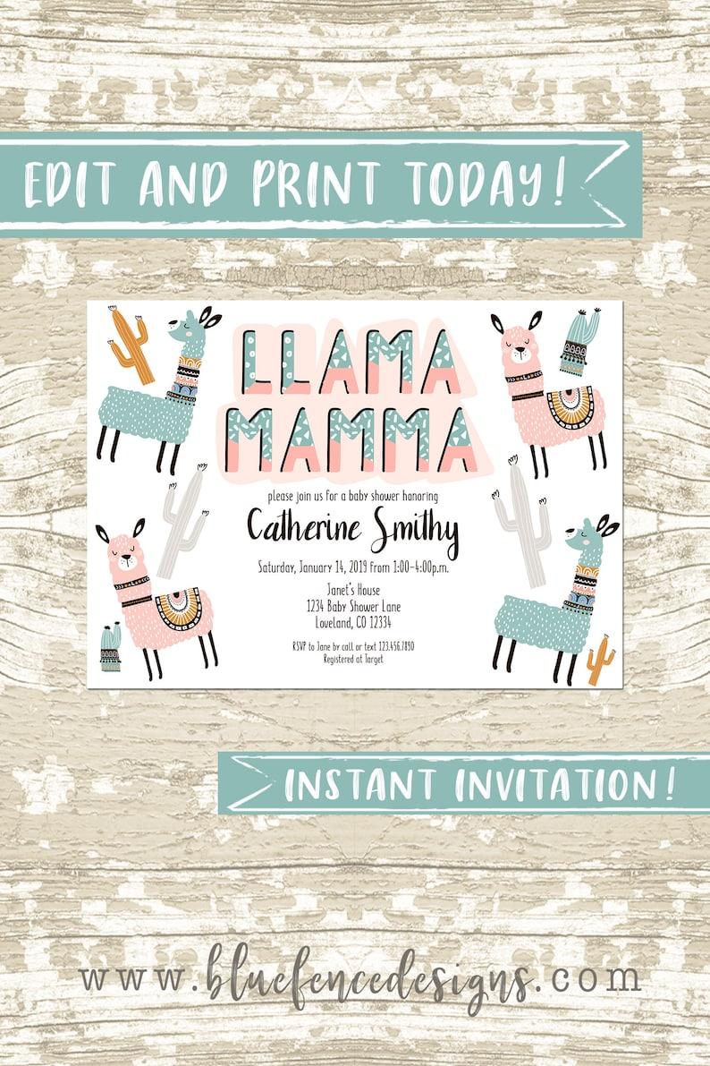 Llama Invitation Template Editable Llama Mamma Llama Baby image 0