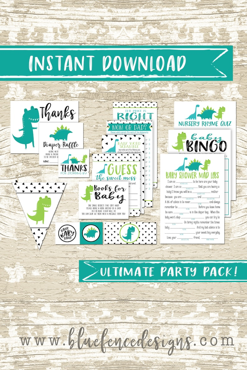 Blue and Green Dinosaur Baby Shower Party Package  Girl Party image 0