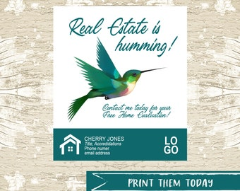 Hummingbird Pop by Tags, Summer Real Estate Pop by Printable Tag, Real Estate Marketing Thank You Tag INSTANT DOWNLOAD
