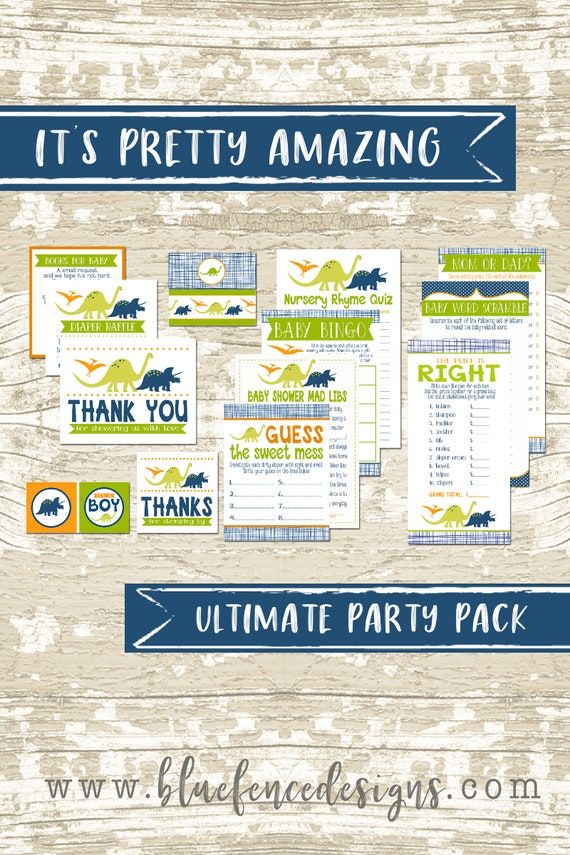 Dinosaur Baby Shower Party Printable Package,  Boy Party Printable,  Party Games,  Party Decor, DIY, Book Card, Diaper Raffle, Instant PDF