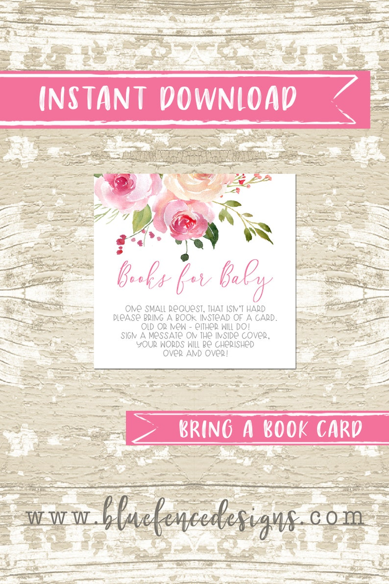 Bring a Book Watercolor Floral Girl Baby Shower Invitation image 0