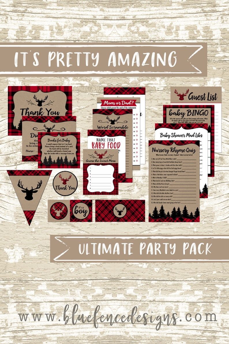 Oh Deer Baby Shower Party Package  Printable Red and Black image 0