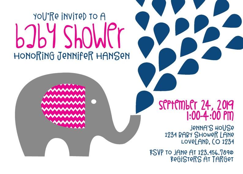 ad28f47bfcbb Editable Elephant Baby Shower Invitations, Baby Girl Shower Invitations,  pink, navy, Instant Download, Template DIY