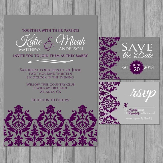 Dark Purple Wedding Invitations: Items Similar To Simple Wedding Invitation, Modern, Dark