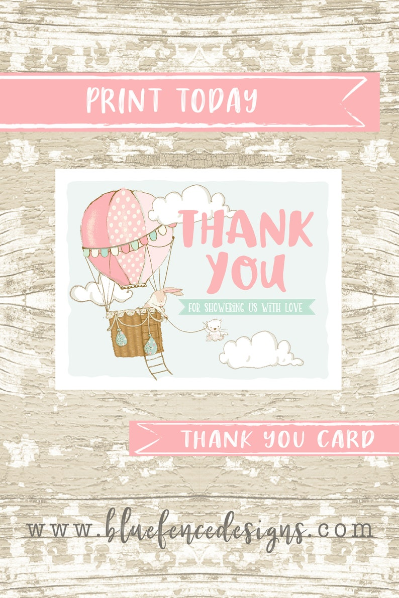 INSTANT DOWNLOAD Hot Air Balloon Baby Girl thank you card image 0