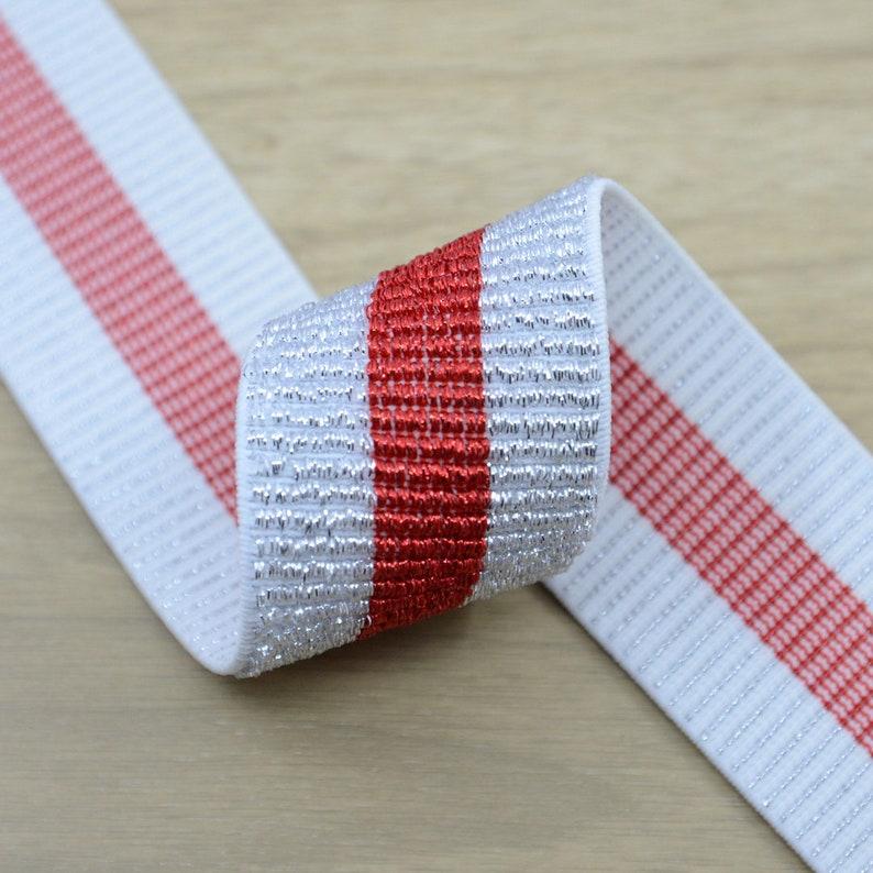 1.5 inch 40 mm Wide Glitter Striped Elastic Band Elastic Ribbon Colored Elastic Trim Elastic by the Yard,
