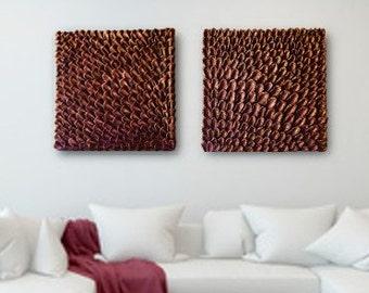 Set of 2 Large Wall Sculptures - Square Wall Decor - 3D Wall Art - Metallic Finish Wall Sculptures - Textured Wall Art - Wall Installation