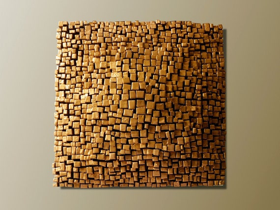 Wand-Skulptur Gold Dukat-3D Holz-Panel Wand-Abstract Wand | Etsy