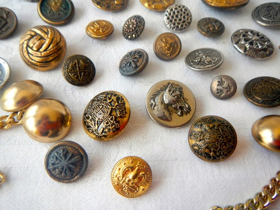 Set Of 10 Bronze 20mm Round Metal Buttons Military Crest Coat Of Arms