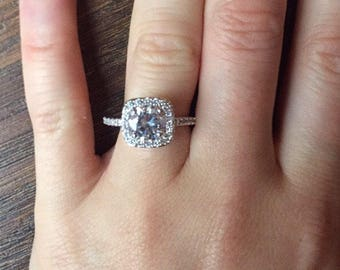 Halo Engagement Ring Flawless Lab Diamond wedding ring diamond simulant lab diamond costume ring dress ring vintage style various sizes
