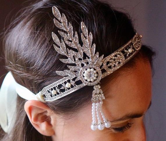 Tiara great gatsby Daisy perles strass 1920er Mariage Diadème Bandeau Mariée