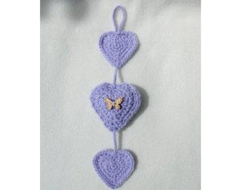 Crochet 3 Heart Hanging - Custom - MADE TO ORDER