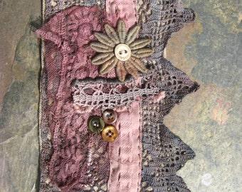 Bespoke Hand Printed Linen Embellished Grey & Pink Wristcuff