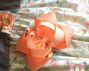 Peach Double Boutique Bow~ peach bow, peach hair bow, m2m your scarlet rose, made to match your scarlet rose
