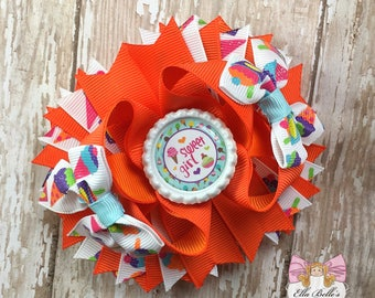 M2M I Scream for Ice Cream Orange Stacked Boutique Bow~ ice cream bow, ice cream hair bow, m2m bhh bow, m2m by her hands