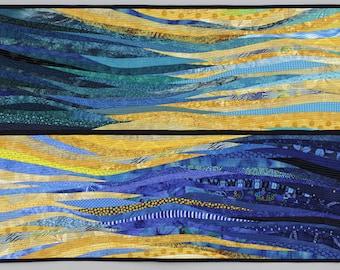 "Dreams of the beach. Nautical art. Quilt for wall. Modern quilt. Abstract textile art. 25x40"". Modern fabric art. Abstract textile art."
