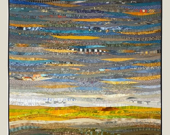 Quilted landscape wall hanging in greys and yellows will add color to your contemporary home or office. Abstract textile art. 40 by 40 in.