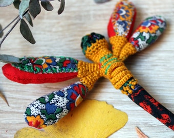 Textile red dragonfly brooch Recycled jewelry Woodland gifts Mosaic fabric patchwork Vintage fiber art brooch Wearable art Insect jewelry