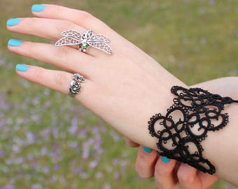Black tatted wide lace bracelet Tatting Jewellery Cuff bracelet Goth Victorian Jewelry cuffs black jewelry Gift for women