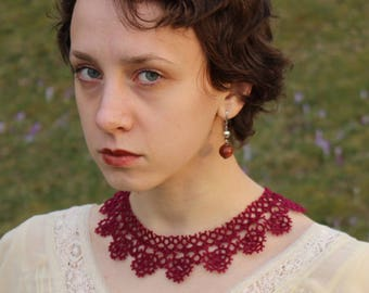 Tatting lace necklace Marsala collar Burgundy Old style neck accessory Victorian Tatted jewellery Bohemian Elegant Charming Filigree