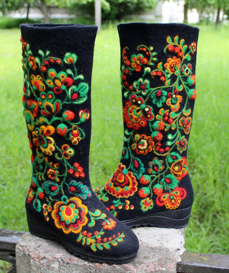 Valenki Russian Traditional Handmade Felt Home Boots 100% Wool Needle Arts & Crafts Best Souvenir Clothing, Shoes & Accessories