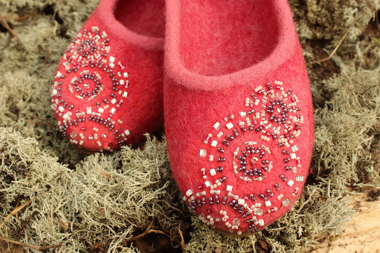 coral pink woolen clogs felted ballet shoes summer felt slip ons beads embroidery ornamental shoes bohemian style custom size ru