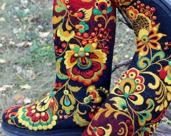 Woolen felted shoes, Women boho boots, High felt shoes, Ecofriendly felting, Traditional Russian style, VALENKI, Khokhloma needle painting
