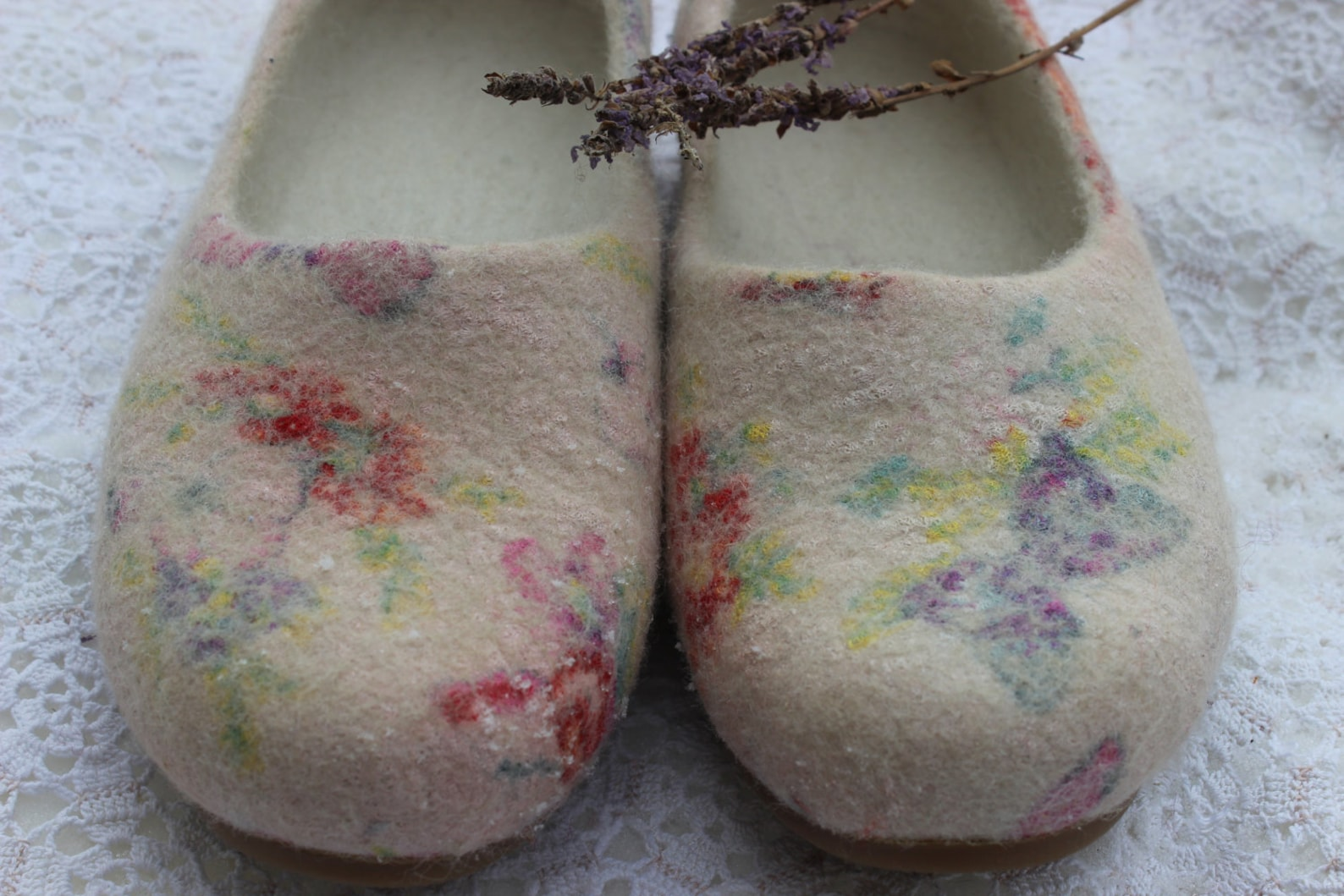 felt beige ballet shoes slip ons felted flatties woolen clogs butterfly flowers silk nuno felting woodland shoes custom size nat
