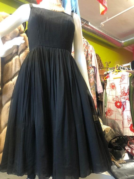 1950s Jr Theme Black Chiffon Cocktail Dress - image 9