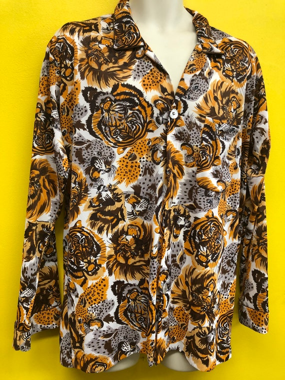 "1960s Mens Tiger Print Nylon ""Disco"" Shirt"