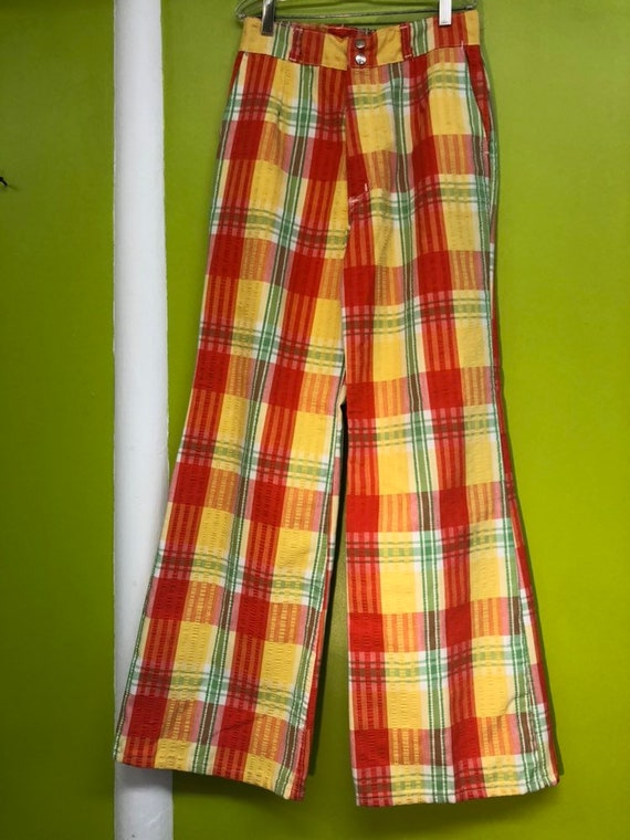 1970s Maverick Plaid Seersucker Bell Bottom Pants