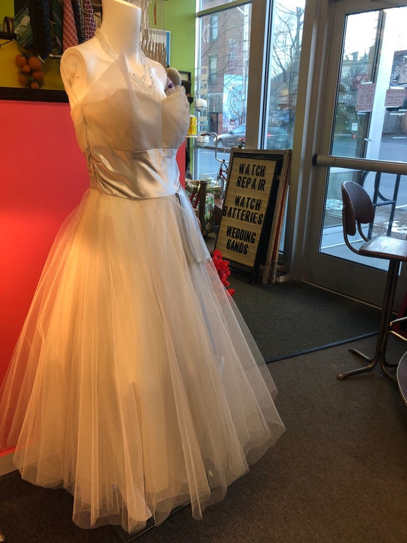1950s White Tulle Strapless Tea Length Gown with T