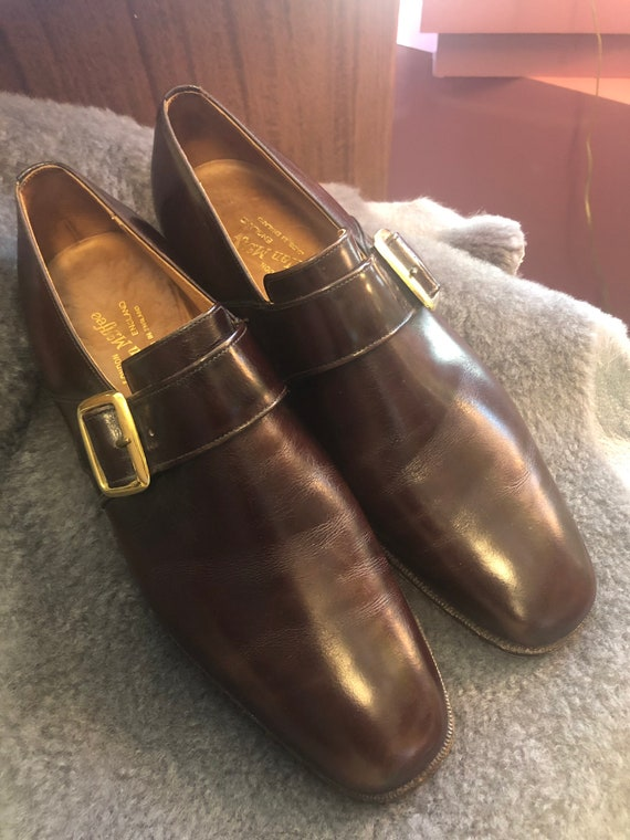 1960s Alan McAfee Mod Gold Buckle Slip On Shoes