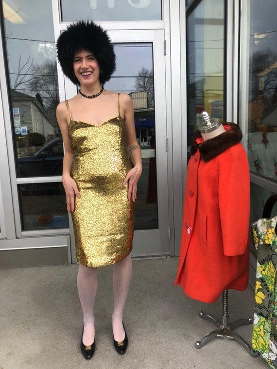 1980s Neil Bieff Gold Sequins Slip Dress