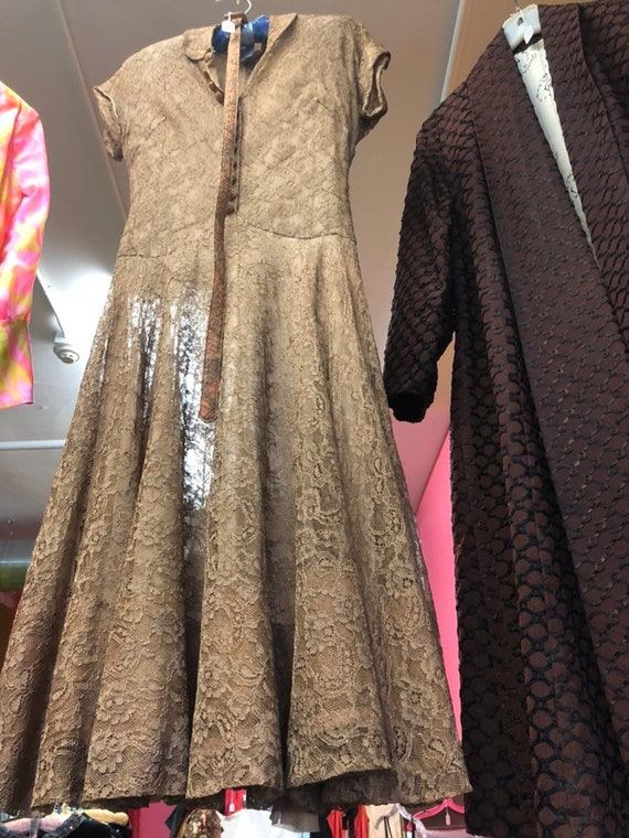 1940s Brown Lace Cocktail Dress
