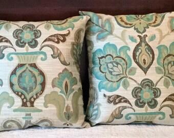 Decorative Pillow Cover, Floral, Aqua Green