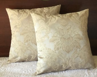 Damask Pillow Cover, Beige & Taupe Design, 16x16 Cover