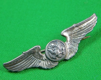 Vintage US Sterling Silver Air Craft Wings Collectable Pin Badge Gift for Him