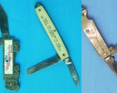 Vintage US Lot of 3 Colonial Advertising Folding Pocket Collectable Knife Knives Gift for Him Gift for collector