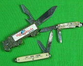 Vintage US Lot of 3 Colonial Advertising Folding Pocket Collectable Knife Gift for Him